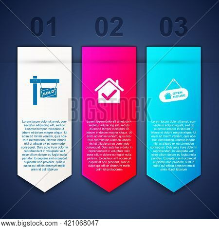 Set Hanging Sign With Sold, House Check Mark And Open House. Business Infographic Template. Vector
