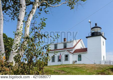 Stockton Springs, Maine, Usa - August, 27 2013. Lighthouse Fort Point Light In Fort Point State Park