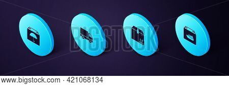 Set Isometric Cargo Ship With Boxes, Cardboard Traffic, Delivery Cargo Truck Vehicle And Package Umb