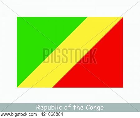 National Flag Of The Republic Of The Congo. Congo-brazzaville Country Flag Detailed Banner. Eps Vect