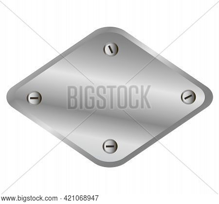 Shiny Metal Plate Isolated On White Background