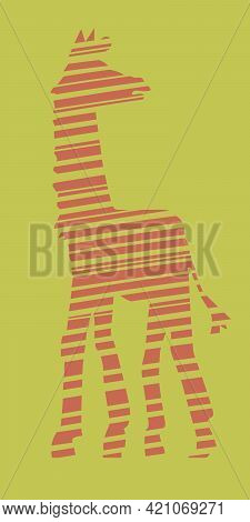 Stylized Silhouette Of A Giraffe, Side View. Stripes Of Different Widths. The Tallest Animal. Vector