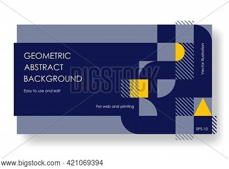 Geometric Abstract Backgrounds Design. Composition Of Simple Geometric Shapes On A Blue Background.