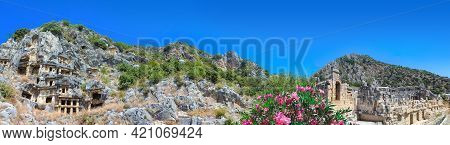Ancient Tombs By Lycians In Fethiye, Turkey
