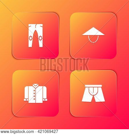 Set Pants, Asian Conical Hat, T-shirt And Men Underpants Icon. Vector