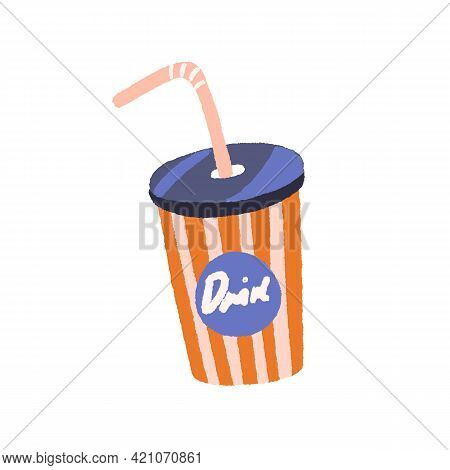 Retro-styled Takeaway Cup Of Cold Soda Drink With Straw And Lid. Vintage Striped Tumbler With Cola.