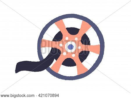 Vintage Movie Reel With Black Film. Retro Cinema Bobbin With Filmstrip. Tape Rolled On Spool. Video