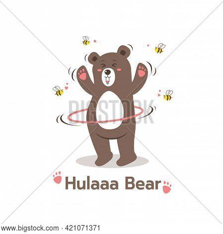 Cartoon Style Brown Bear Playing Hula Hoop Sport Cartoon Character, Cute Bear With Bees,teddy Bear I