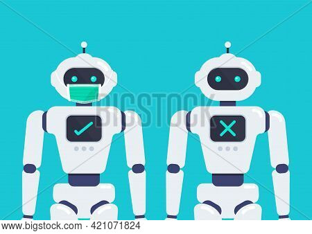 No Entry Without Face Mask. Android Robot Wearing A Protective Medical Mask For Prevent Virus Covid-
