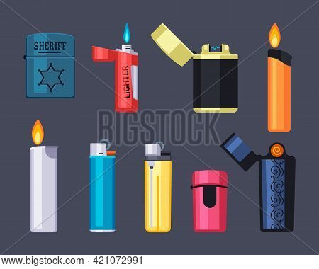 Modern And Retro Lighters Set. Stylish Plastic And Metal Fire Tools With Red And Blue Flames Vintage