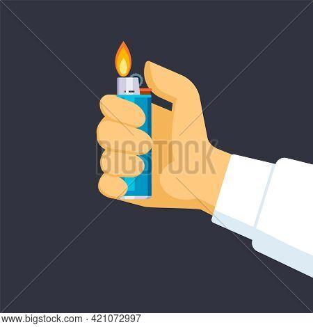Hand Holds Lighter Illustration. Quick Creation Light Dark Room Help In Lighting Cigarette Symbol He