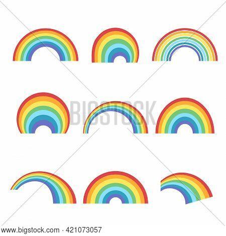 Geometric Rainbow Shapes Set. Colorful Curves Natural Color Arc With Creative Spectrum Decorative Ph