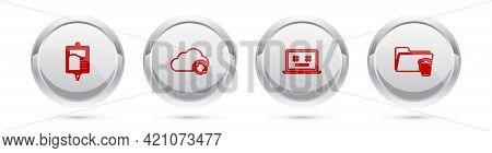 Set Line Iv Bag, Cloud Sync Refresh, Dead Laptop And Delete Folder. Silver Circle Button. Vector