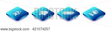 Set Isometric Line Barbecue Grill, Oven Glove, Hotdog Sandwich And Location With Barbecue Icon. Vect