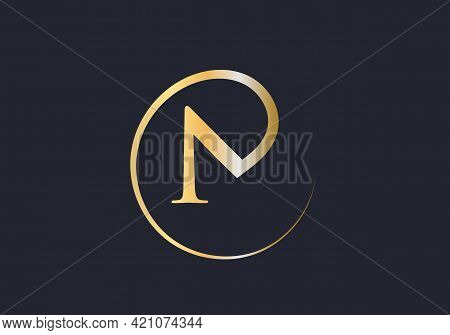 Initial Gold N Letter Logo Design. N Logo Design With Creative And Luxury Concept