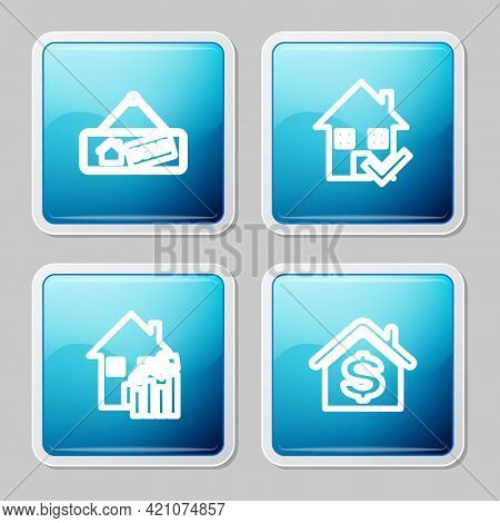 Set Line Hanging Sign With Sold, House Check Mark, Rising Cost Of Housing And Dollar Icon. Vector