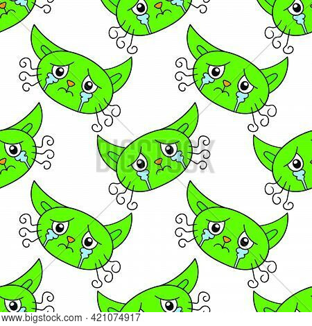 Crying Cat Kitten Seamless Pattern Textile Print. Great For Summer Vintage Fabric, Scrapbooking, Wal