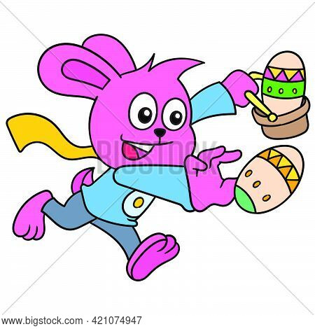 Easter Season Rabbit Bring Eggs With Happy Face. Vector Illustration Art, Doodle Icon Image Kawaii.