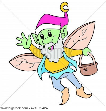 The Old Fairy Dwarf Flew Home Carrying An Empty Basket, Vector Illustration Art. Doodle Icon Image K