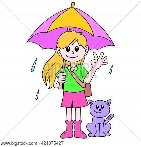The Girl With Her Pet Cat Uses An Umbrella During The Rainy Season, Vector Illustration Art. Doodle