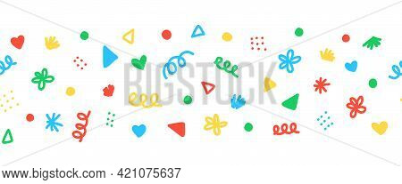 Seamless Border With Colorful Decorative Scribble Shapes Party Sprinkles. Repeating Horizontal Banne