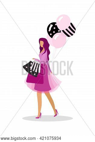 Fashion-monger Flat Color Vector Faceless Character. Shopping Addict. Looking For Holiday Sales. Lad