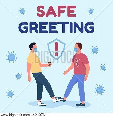 Touch-free Salutations Social Media Post Mockup. Safe Greet Phrase. Web Banner Design Template. New