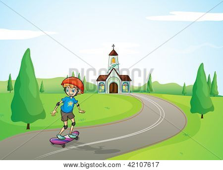 Illustration of a boy and a church