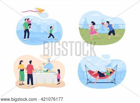 Summertime Vacation With Family 2d Vector Web Banner, Poster Set. Outdoor Games Flat Characters On C