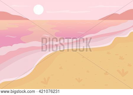 Romantic Beach Scenery Flat Color Vector Illustration. Summer Vacation. Summertime Trip To Tropical