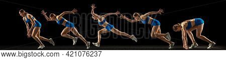Collage Of Different Photos Of Professional Sportswoman, Runner, Jogger In Action And Motion Isolate