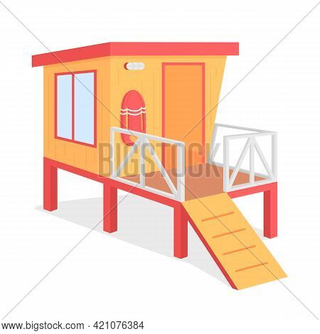 Lifeguard Tower Flat Color Vector Object. Ocean Beach Observation Place. Summer Vacation Safety. Lif