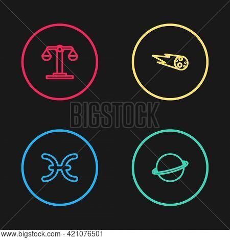 Set Line Pisces Zodiac, Planet Saturn, Comet Falling Down Fast And Libra Icon. Vector