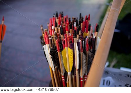 Arrows In The Quiver. Many Arrows. Plumage Of Arrows. Many Colored Arrows