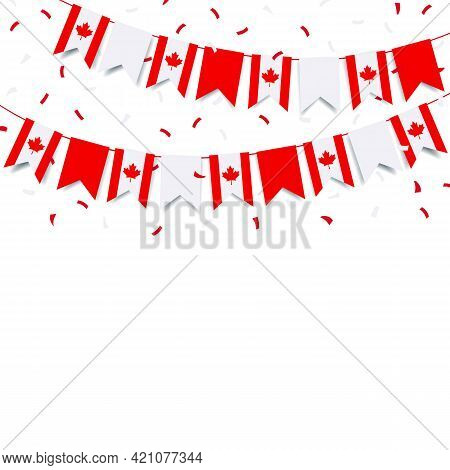 Vector Illustration Of Canada Day.  Garland With The Flag Of Canada On A White Background.
