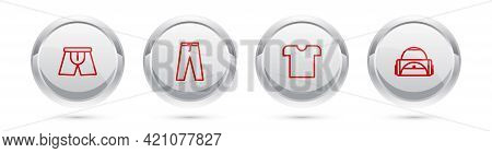 Set Line Men Underpants, Pants, T-shirt And Sport Bag. Silver Circle Button. Vector