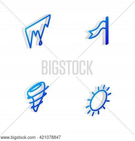 Set Isometric Line Meteorology Windsock Wind Vane, Icicle, Tornado And Sun Icon. Vector