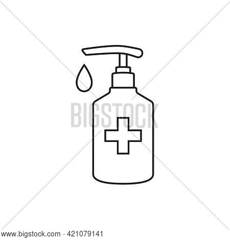 Vector Icon Of Bottle With Liquid Soap. Hand Sanitizer Wash Gel Linear Icon. Editable Stroke.
