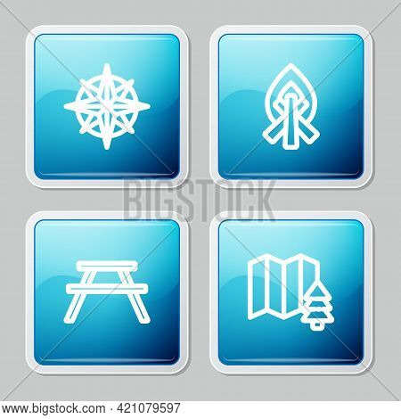 Set Line Wind Rose, Campfire, Picnic Table With Benches And Location Of The Forest Icon. Vector