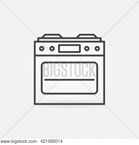 Gas Stove With Oven Outline Vector Icon. Front View