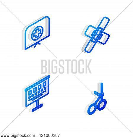 Set Isometric Line Crossed Bandage Plaster, Nurse Hat With Cross, Eye Test Chart And Medical Scissor