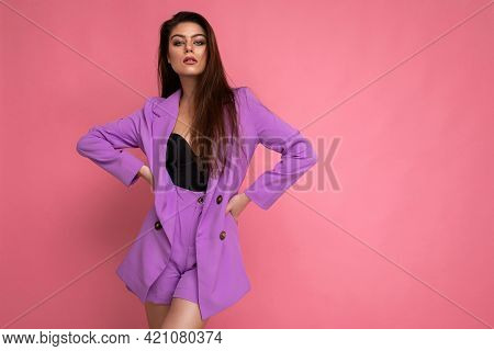 Young Sexy Brunette Woman Nice-looking Attractive Charming Elegant Fashionable Serious Isolated Over