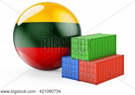 Cargo Containers With Lithuanian Flag. Freight Shipping In Lithuania, 3d Rendering Isolated On White
