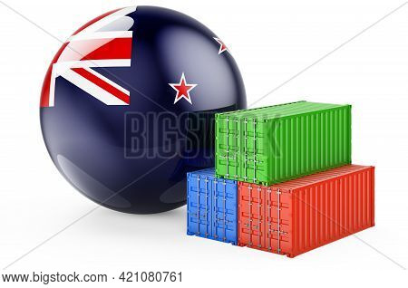 Cargo Containers With New Zealand Flag. Freight Shipping In New Zealand, 3d Rendering Isolated On Wh