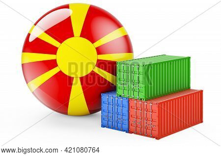 Cargo Containers With Macedonian Flag. Freight Shipping In Macedonia, 3d Rendering Isolated On White