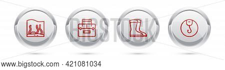 Set Line Aquarium, Case Container For Wobbler, Fishing Boots And Hook. Silver Circle Button. Vector