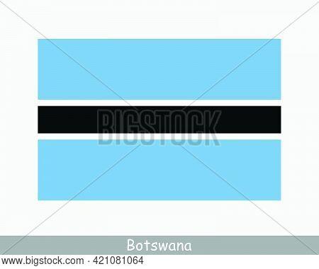 National Flag Of Botswana. Batswana Country Flag. Republic Of Botswana Detailed Banner. Eps Vector I