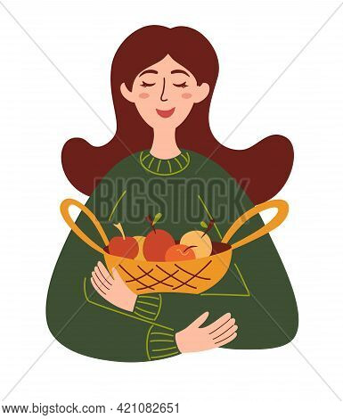 Beautiful Girl With A Basket Of Apples. Harvest Season, Healthy Food, Concept Farm Products. Girl Fa