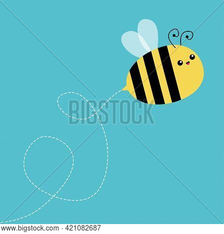 Bee. Cute Flying Honeybee. Bumblebee Bug. Dash Line In The Sky. Cartoon Kawaii Baby Character. Insec