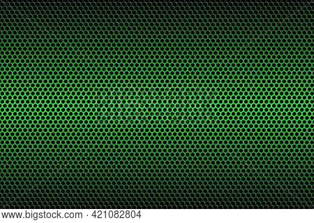 Green Carbon Fiber Texture. Metal Texture Green Steel Background.